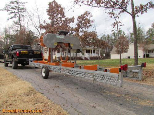 towing a portable sawmill trailer