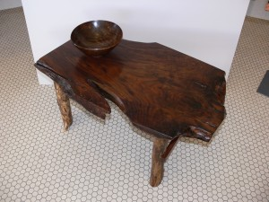 Table and bowl made from walnut root by a sawmill