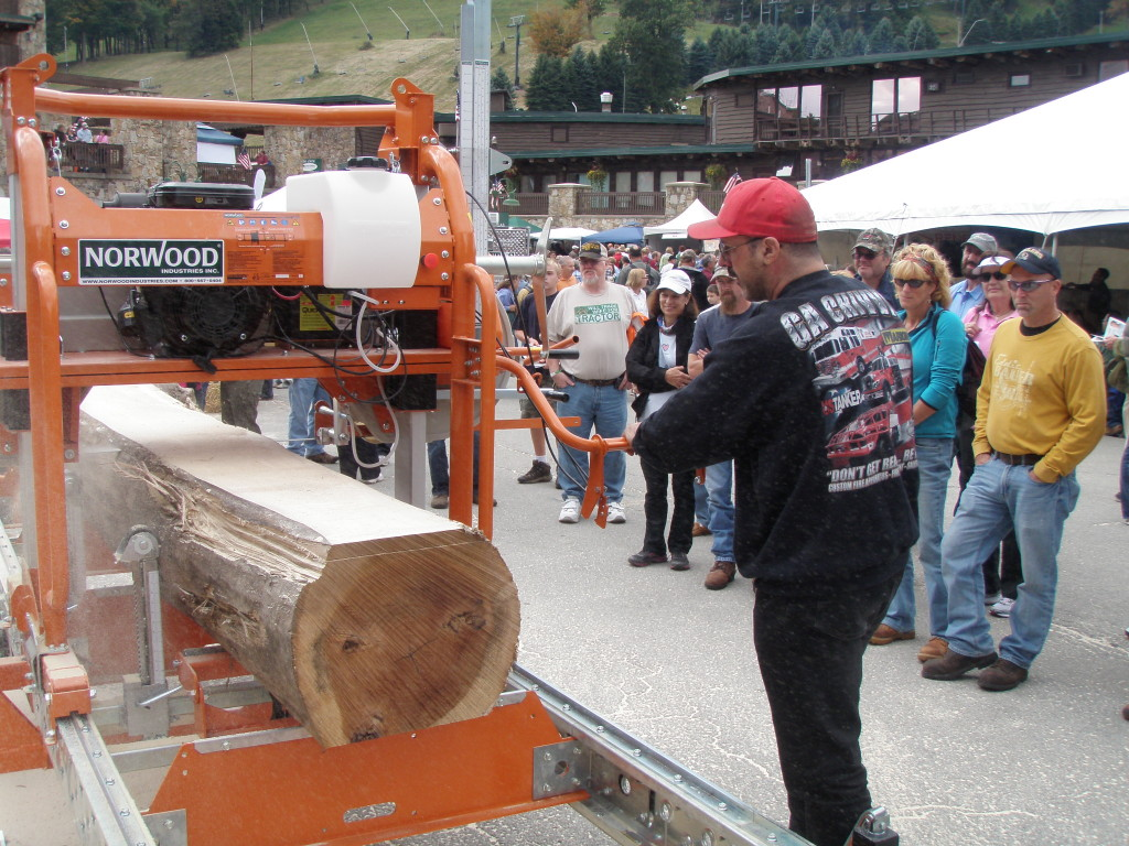 Demonstrating how to use a sawmill to generate business