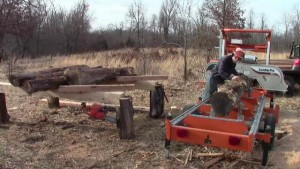 Bandsaw mill log deck