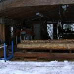 portable sawmill in winter