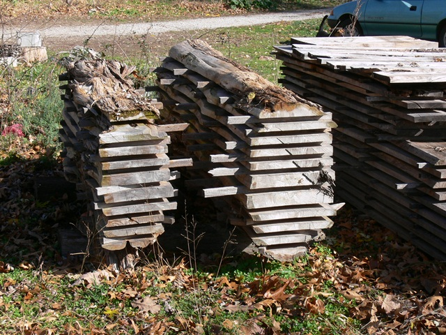 Stacked Cedar Lumber