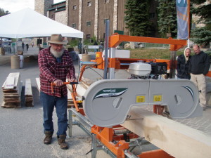 trying out a mobile sawmill