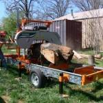 Short Cherry Log in Sawmill