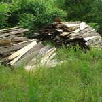 Pile of wood slabs from a portable sawmill